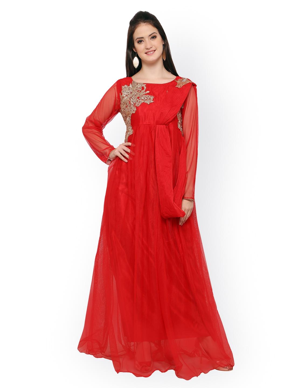 Buy Blissta Red Net Semi Stitched Gown Dress Material - Dress ... f1b96ad8e