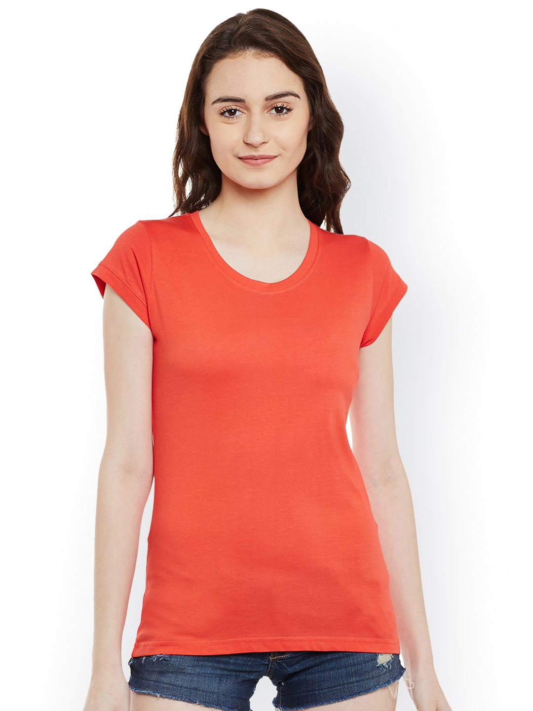 Miss Chase Women Coral Red Solid Round Neck T shirt