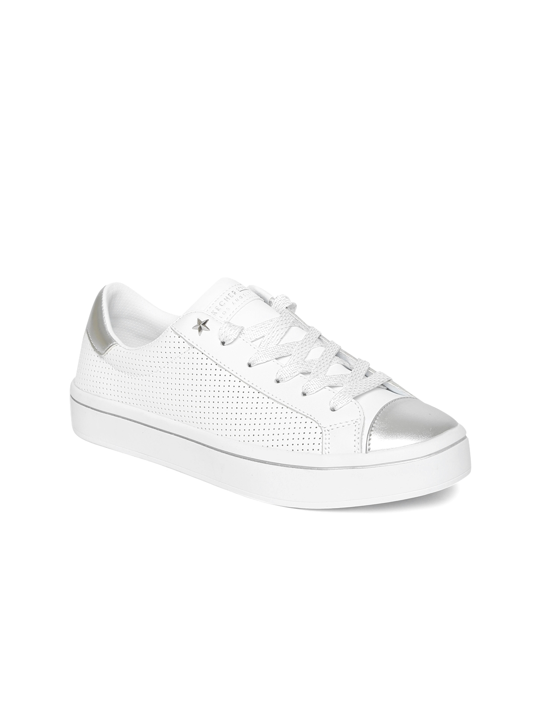 34715c92af77 Skechers Women White   Silver-Toned Leather HI LITE MAGNETOES Sneakers