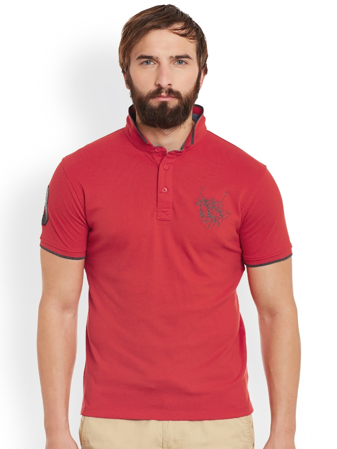 Red Solid Regular Fit Cotton Mens T-Shirt