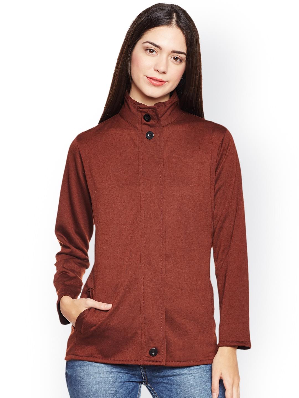 c8c5b55a97 Buy Belle Fille Women Brown Solid Lightweight Open Front Jacket ...