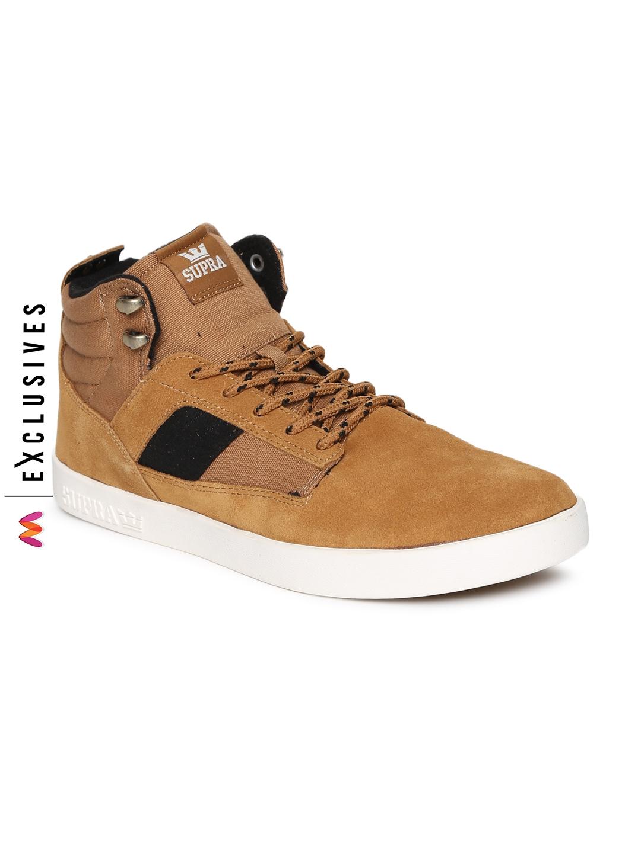 f11a24dd395b Buy Supra Men Brown Solid BANDIT Suede Mid Top Sneakers - Casual ...
