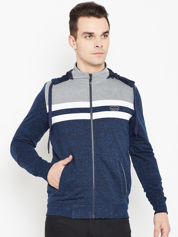 1421e6bc5 Buy Monte Carlo Men Navy Blue Striped Detachable Hood Sweatshirt ...