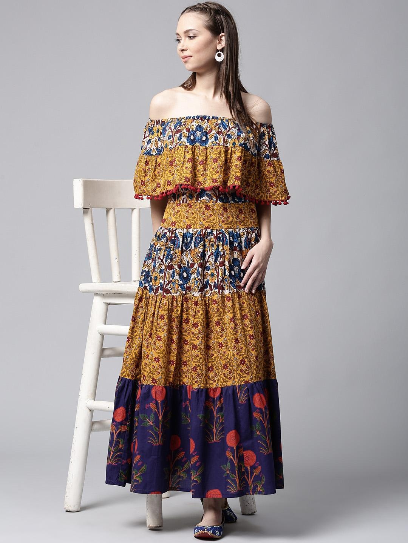 3eb3f839298 Buy AKS Women Mustard Yellow   Blue Printed Maxi Dress - Dresses for Women  2250083