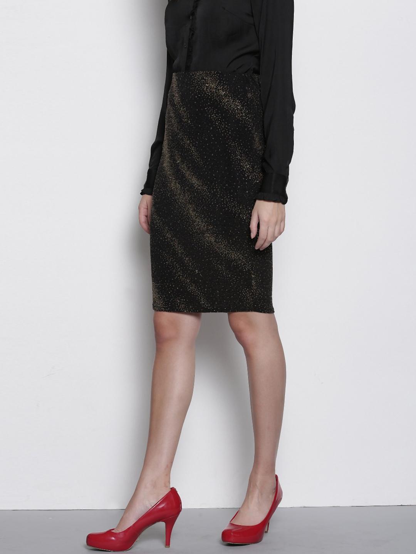 ab2648c03b Buy DOROTHY PERKINS Petite Black & Gold Toned Pencil Skirt - Skirts ...