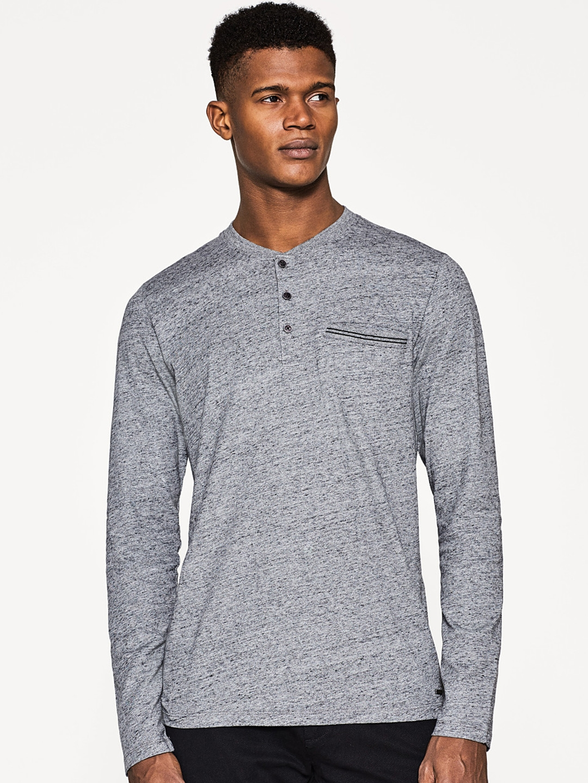 6cee8e4d Buy ESPRIT Men Grey Melange Solid Henley Neck T Shirt - Tshirts for ...