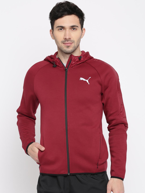 f9b25a791782 Buy Puma Men Maroon Solid Evostripe Shield FZ Hooded Sporty Jacket ...