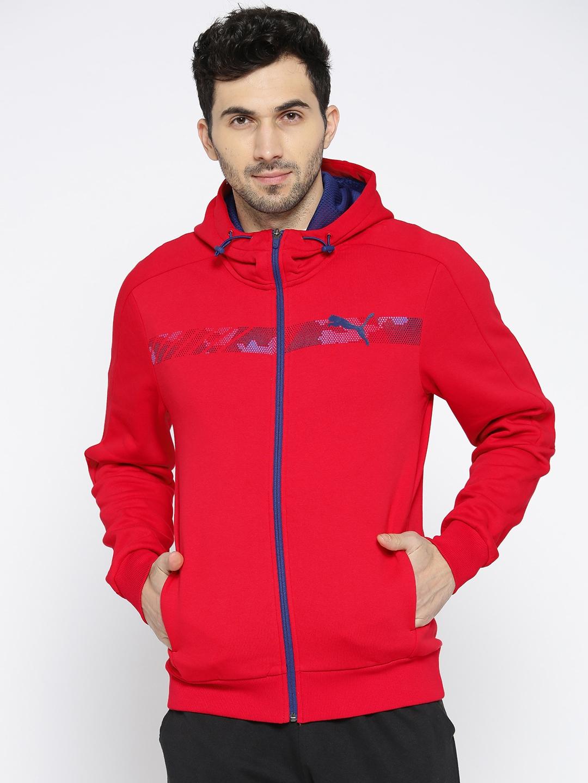 Buy Puma Men Red Printed Active Hero FZ Hoody FL Jacket - Jackets ... 7c414f683
