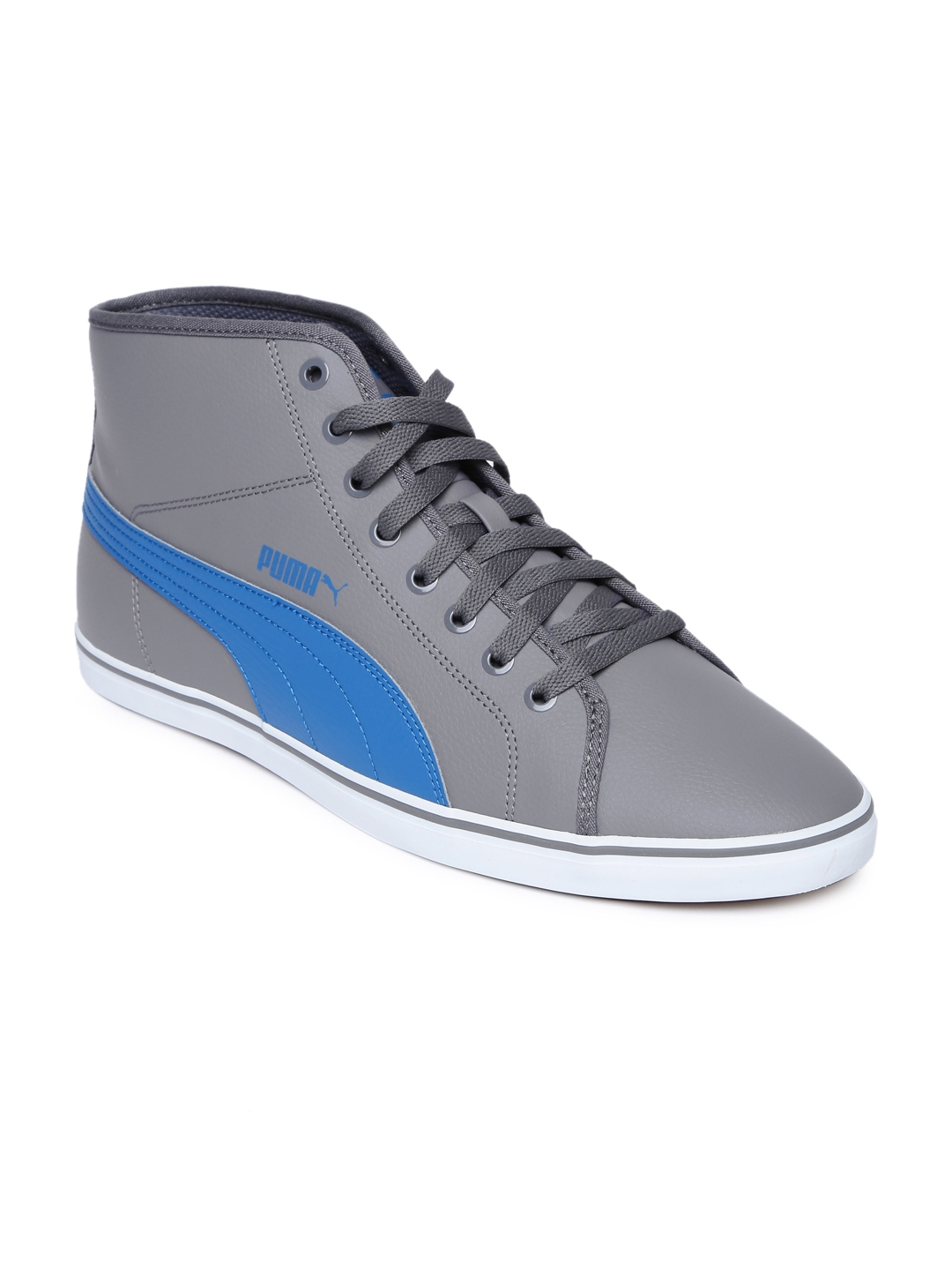 60687db5a67 Buy Puma Men Grey Solid Synthetic Leather Elsu V2 Mid Top Sneakers ...