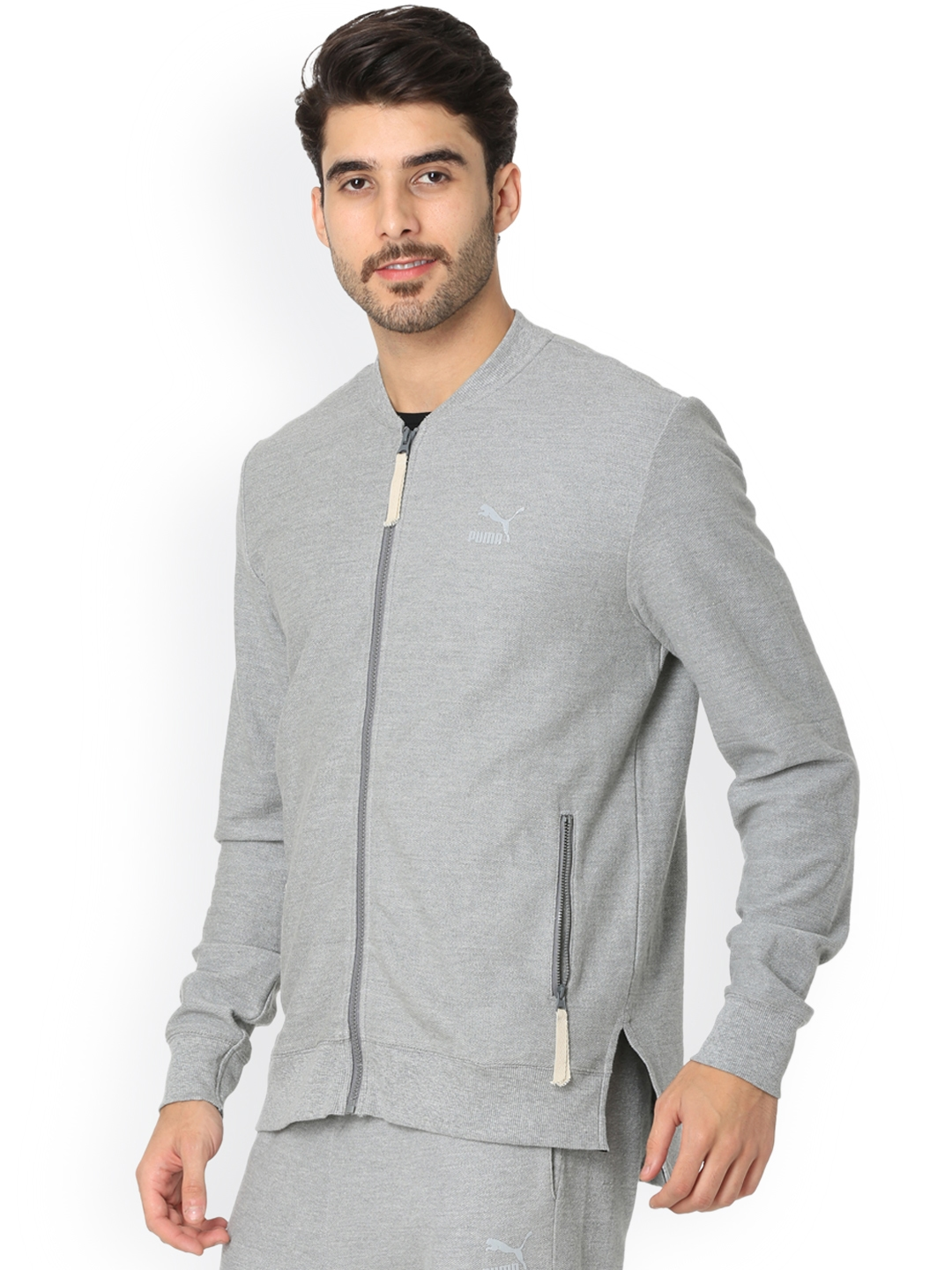 Buy One8 X PUMA Men Grey Solid Sporty Jacket - Jackets for Men ... 9d4ac860aaa