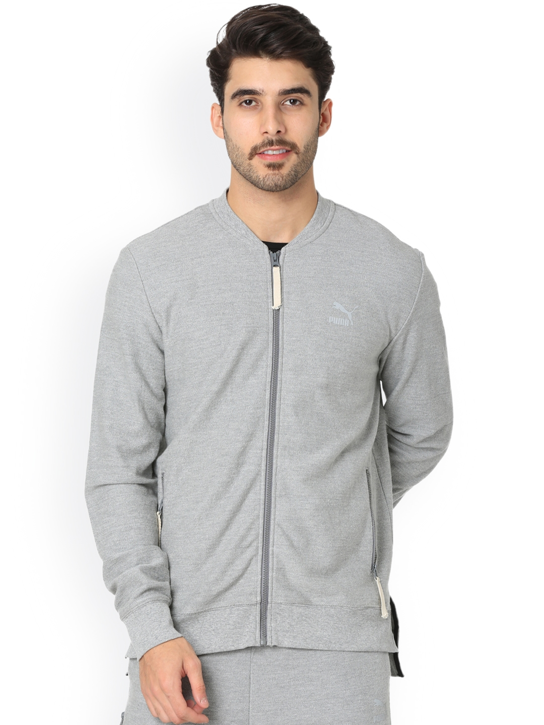 c3f1d6e6a Buy One8 X PUMA Men Grey Solid Sporty Jacket - Jackets for Men ...