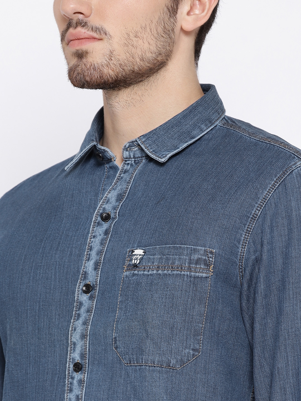 15bcdc8efda Buy John Players Men Blue Solid Denim Shirt - Shirts for Men 2254559 ...