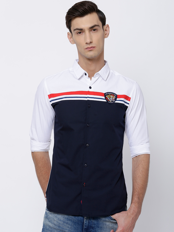 LOCOMOTIVE Men White   Navy Blue Slim Fit Solid Casual Shirt