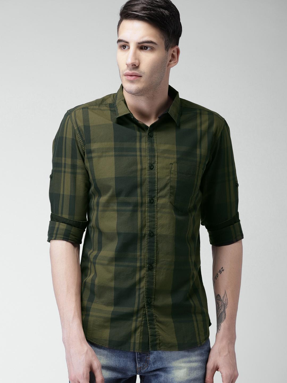 98ce563912da Buy HIGHLANDER Men Olive Green & Black Slim Fit Checked Casual Shirt -  Shirts for Men 2256558 | Myntra