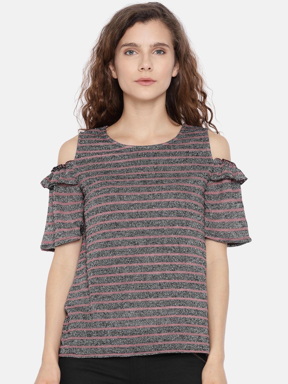 7db1558e28c640 Buy ONLY Women Black   Mauve Metallic Thread Striped Cold Shoulder ...