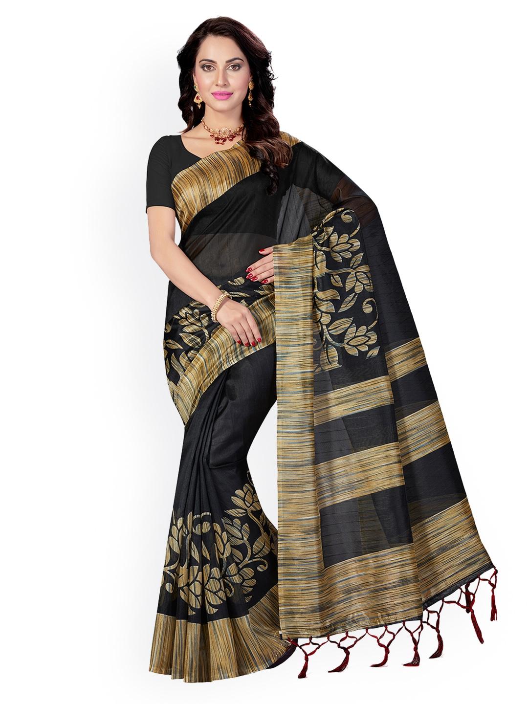 b09e89631 Buy Ishin Black Art Silk Printed Bhagalpuri Saree - Sarees for Women ...