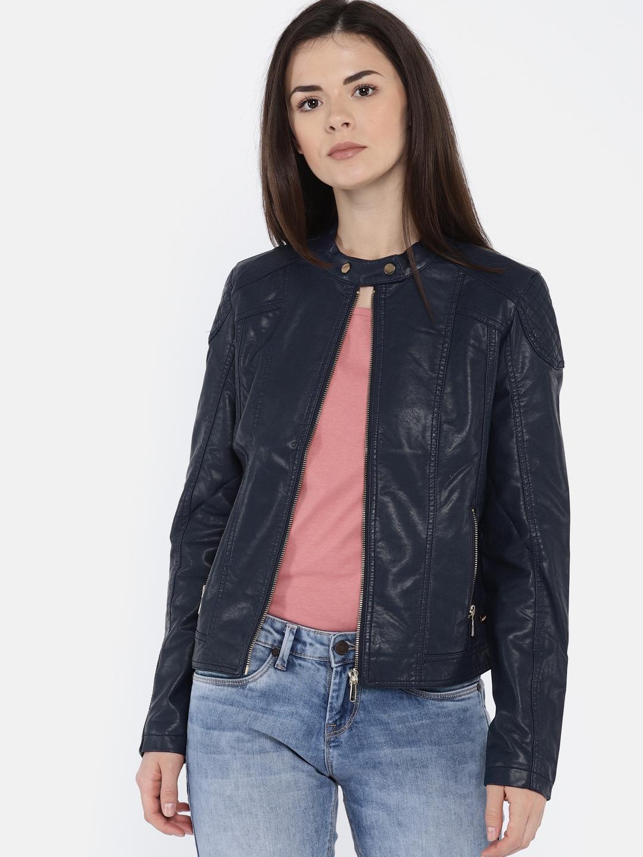 1e4932c89473 Buy U.S. Polo Assn. Women Women Navy Blue Solid Biker Jacket ...