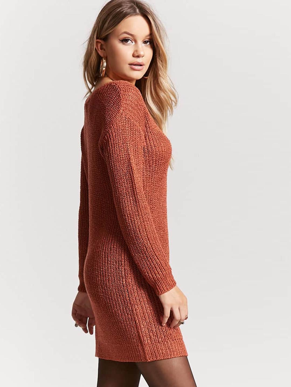 f44e9ed1c5 Buy FOREVER 21 Women Rust Orange Solid Sweater Dress - Dresses for ...