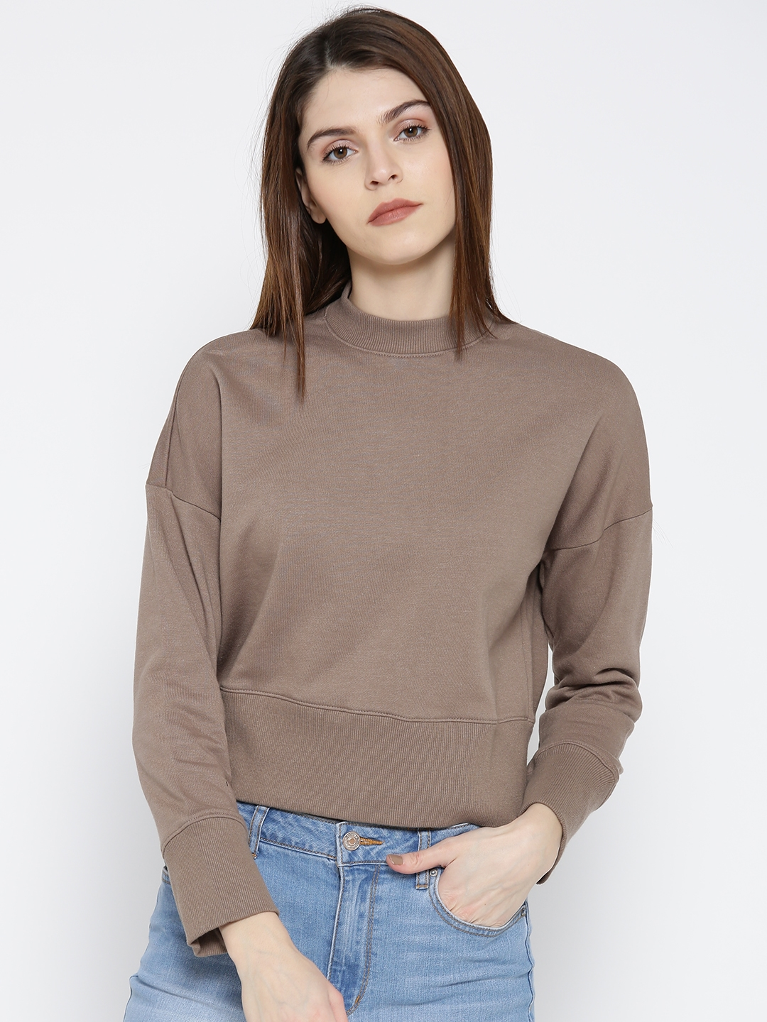 496daad77 Buy FOREVER 21 Women Taupe Solid Bomber Jacket - Jackets for Women ...