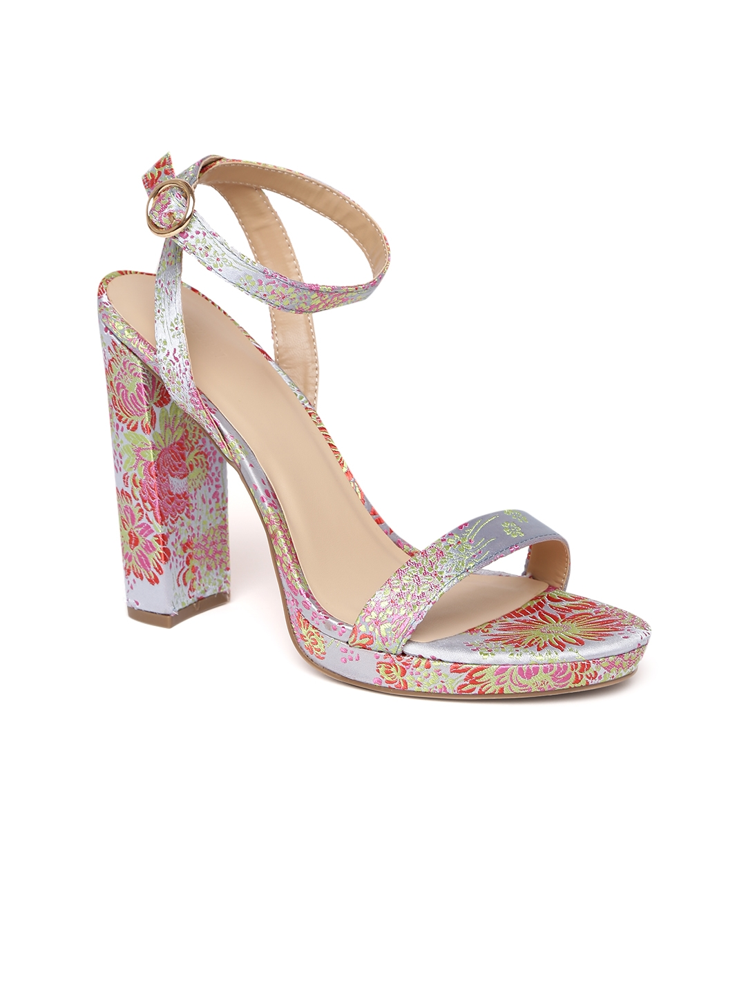 Buy FOREVER 21 Women Pink   Blue Embroidered Sandals - Heels for ... 1b4e94c67bd2
