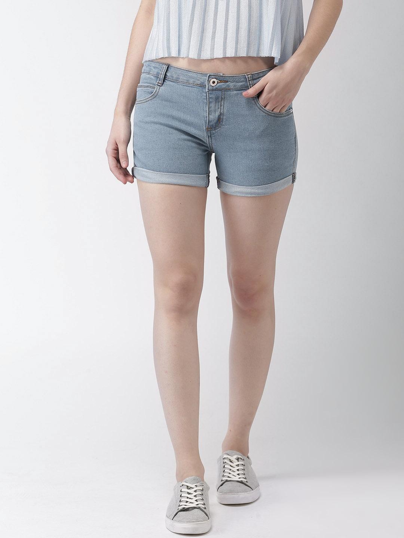 5de51e0fd Buy Mast & Harbour Women Blue Solid Regular Fit Denim Shorts ...