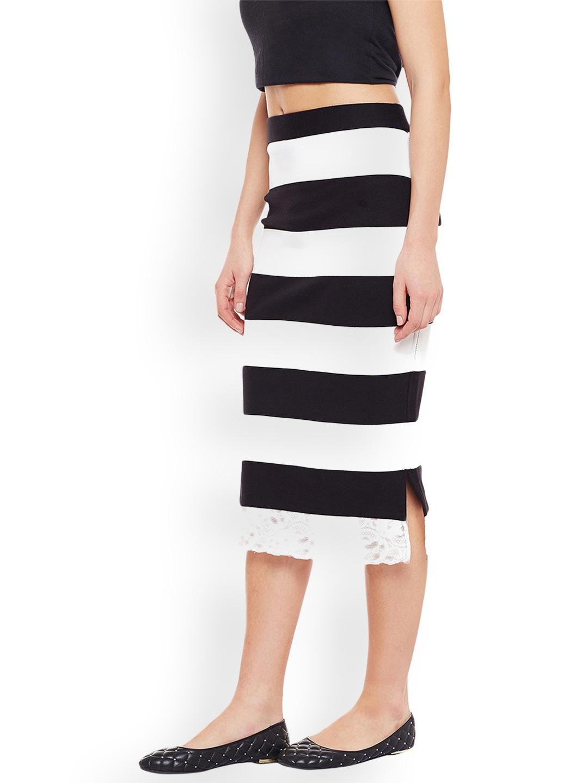 0bb9eda954 Buy Rider Republic Black & White Striped Pencil Skirt - Skirts for ...