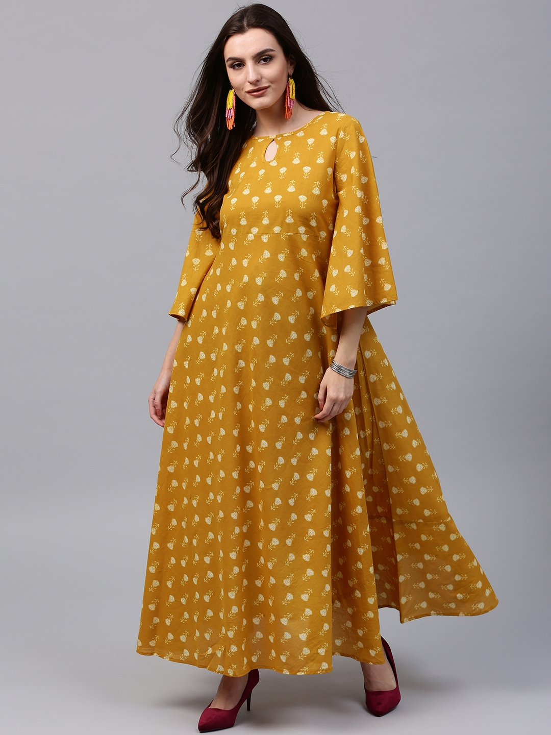 b8bfcc414a0 Buy AKS Women Mustard Yellow Printed Maxi Dress - Dresses for Women ...