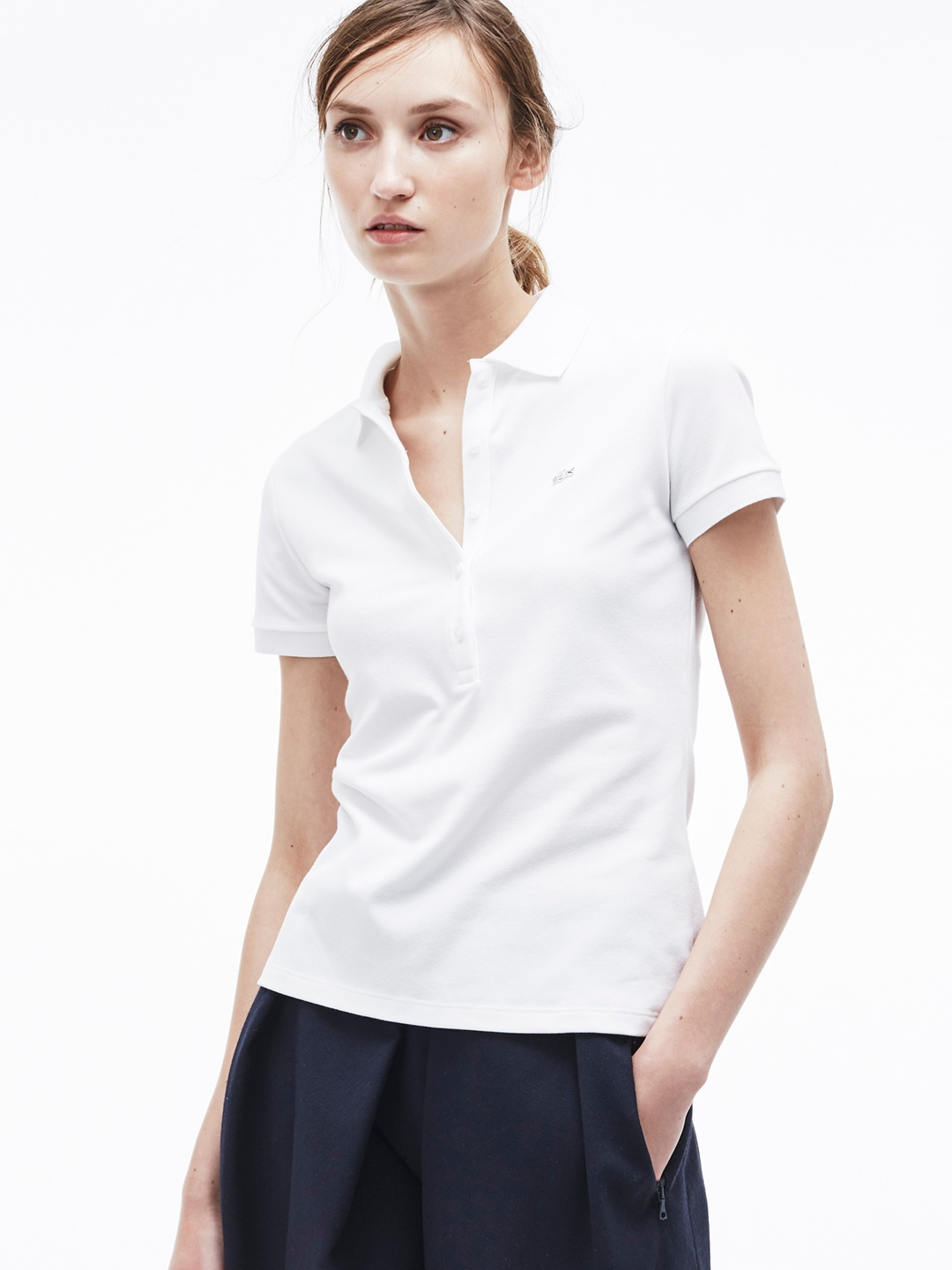 6d09ccee94 Lacoste Women White Solid Polo Collar T-shirt