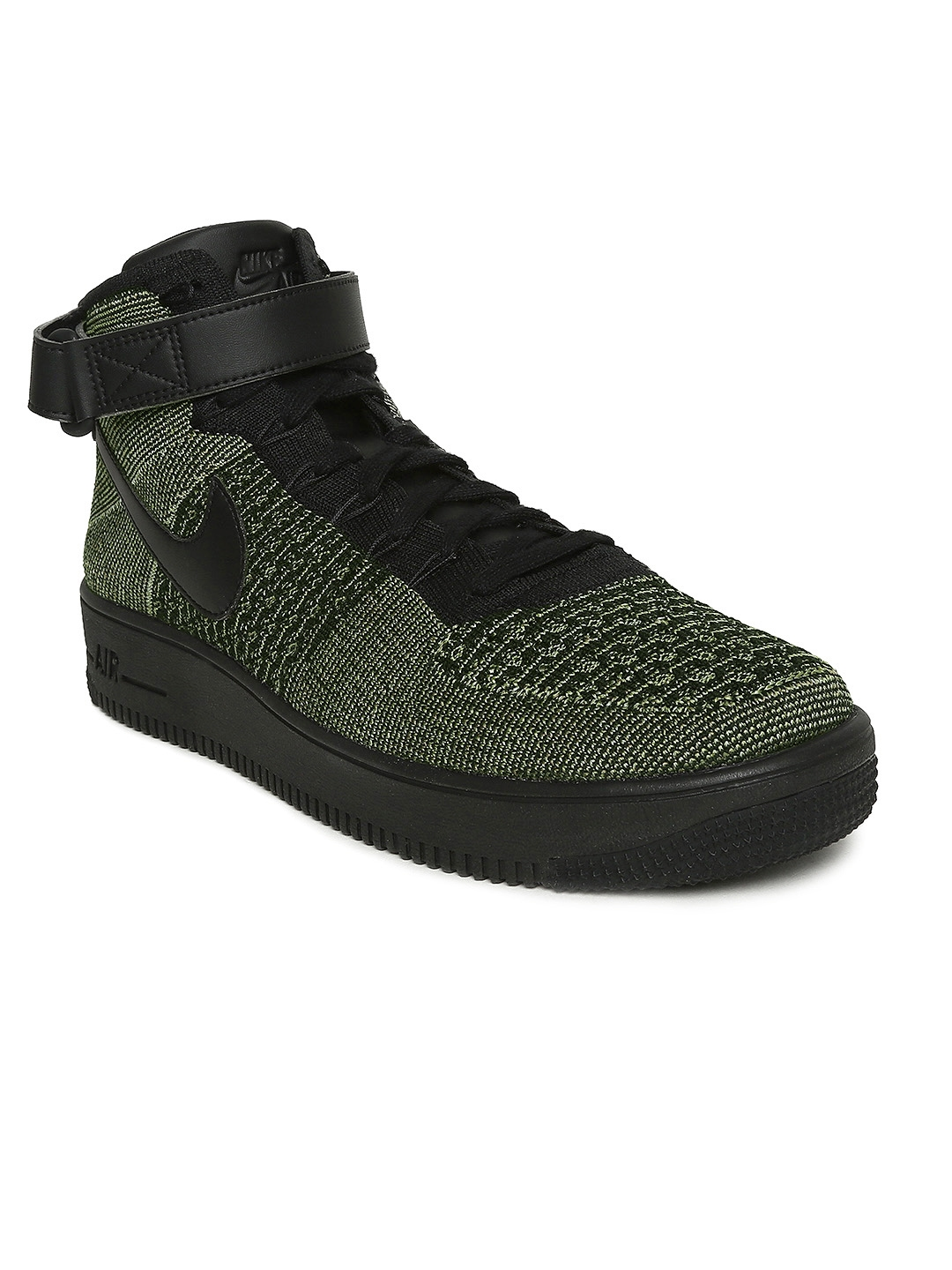 f6a77da1f132 Nike Men Green Printed Textile Mid-Top AF1 Ultra Flyknit Mid Sneakers