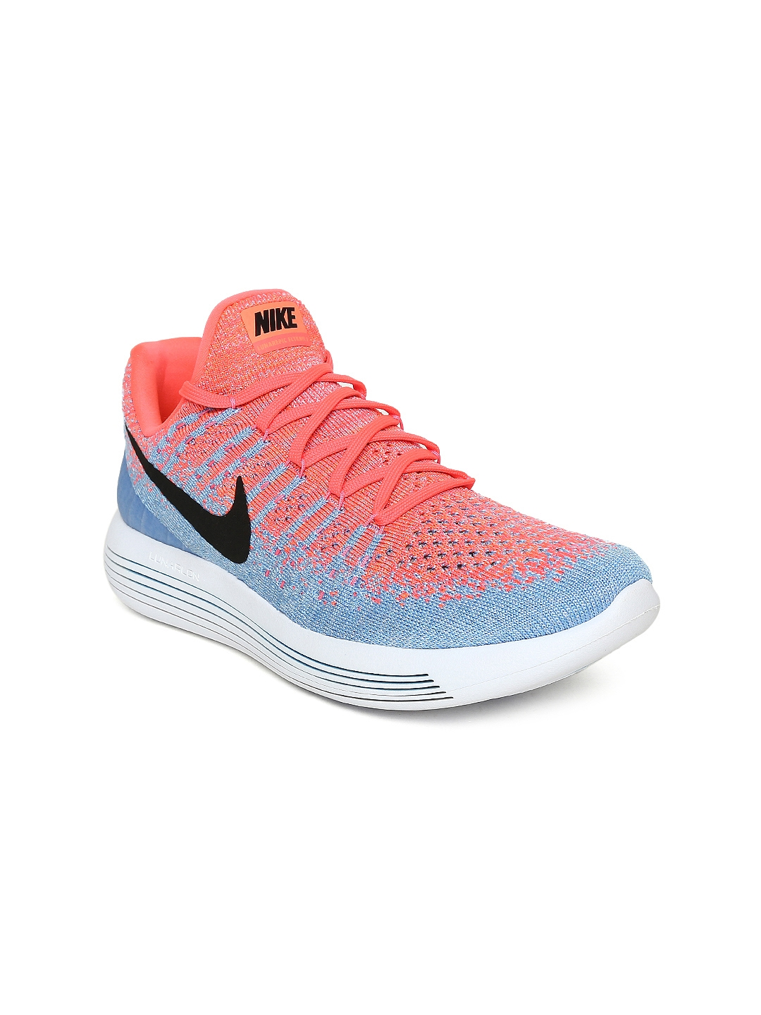 the latest 089a6 baf44 Nike Women Blue   Coral Pink LUNAREPIC LOW FLYKNIT 2 Running Shoes