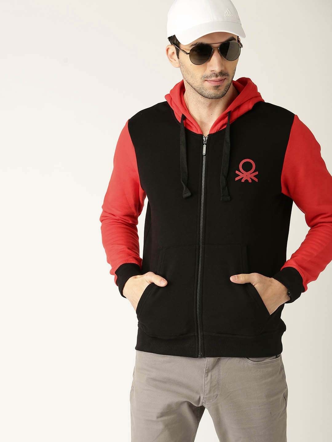 e77e71115a United Colors of Benetton Men Black   Red Solid Hooded Sweatshirt