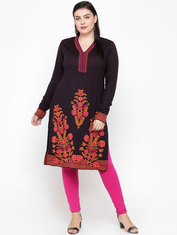 bb57f809723 Buy ALL Women Black Printed Straight Winter Kurta - Kurtas for Women ...