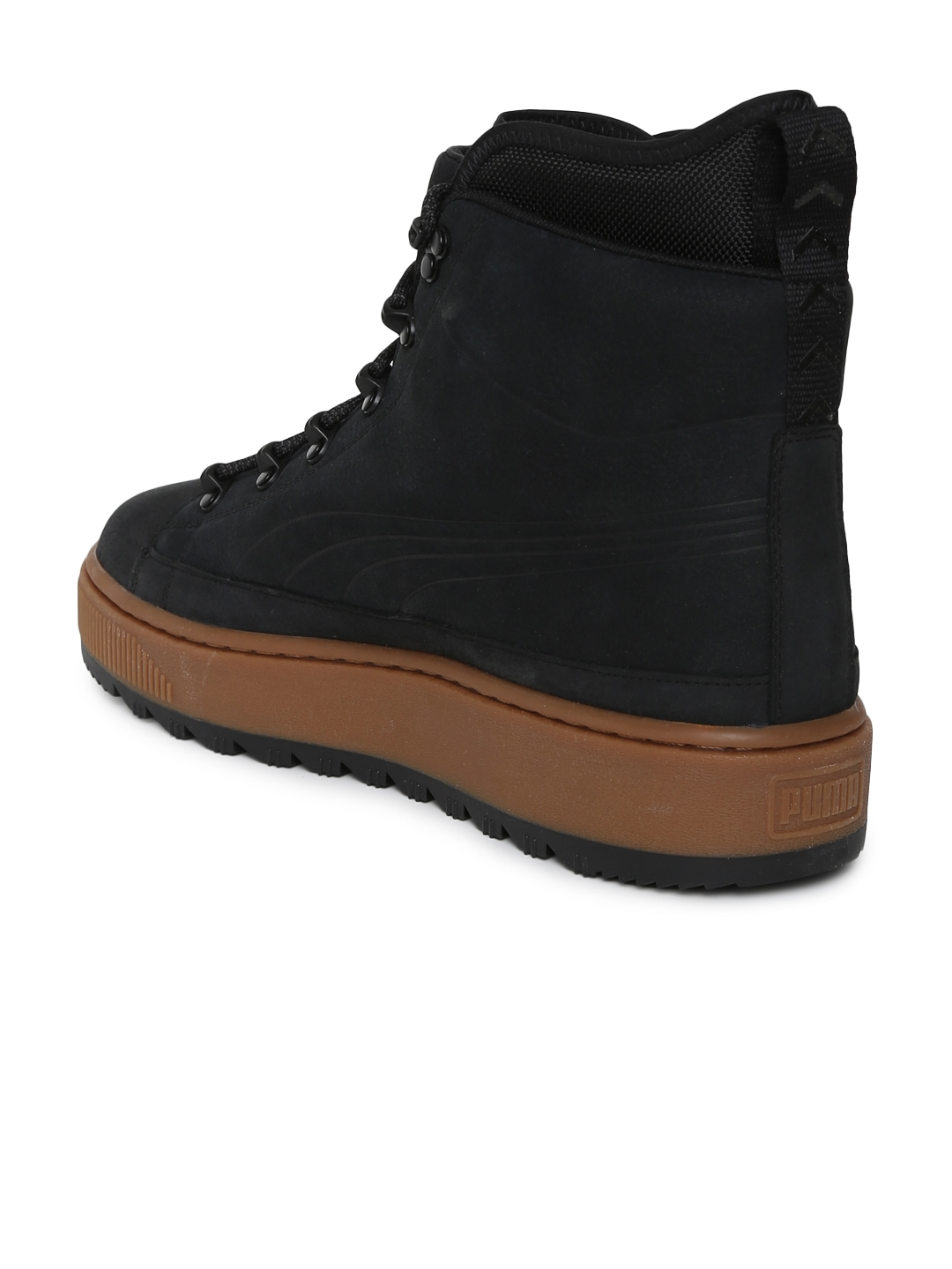 Buy Puma Unisex Black Solid Leather High Top The Ren NBK Flat Boots ... 664965542c2
