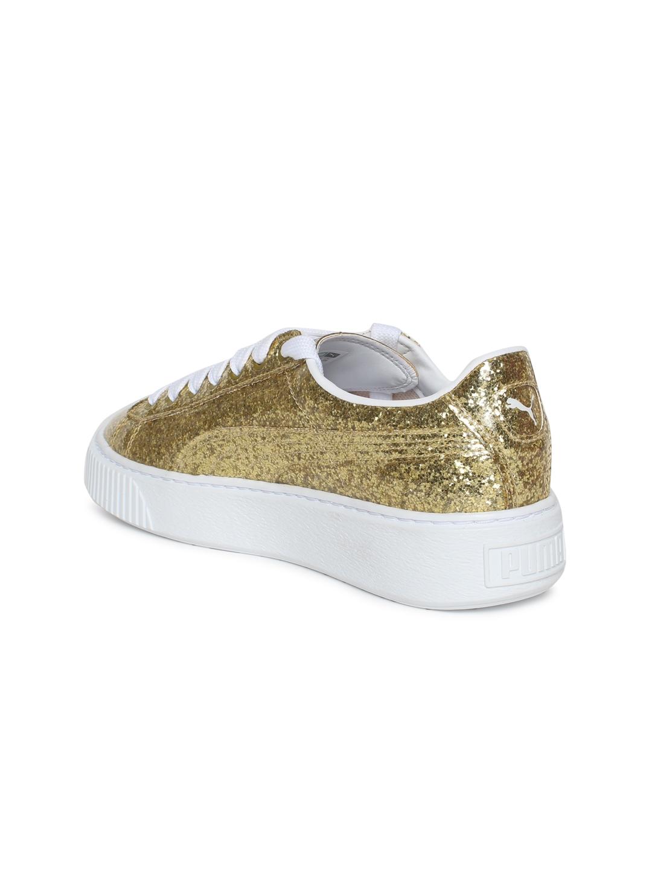 Buy Puma Women Gold Toned Basket Platform Glitter Sneakers - Casual ... 1e7c4c753