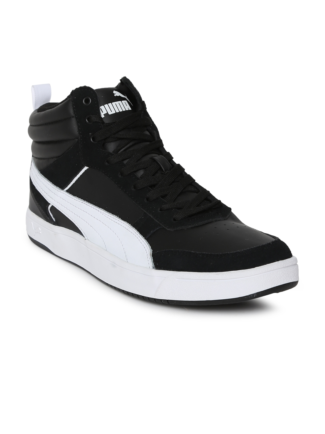 686a3e2806c Puma Men Black Solid Suede Mid-Top Rebound Street v2 IDP Sneakers