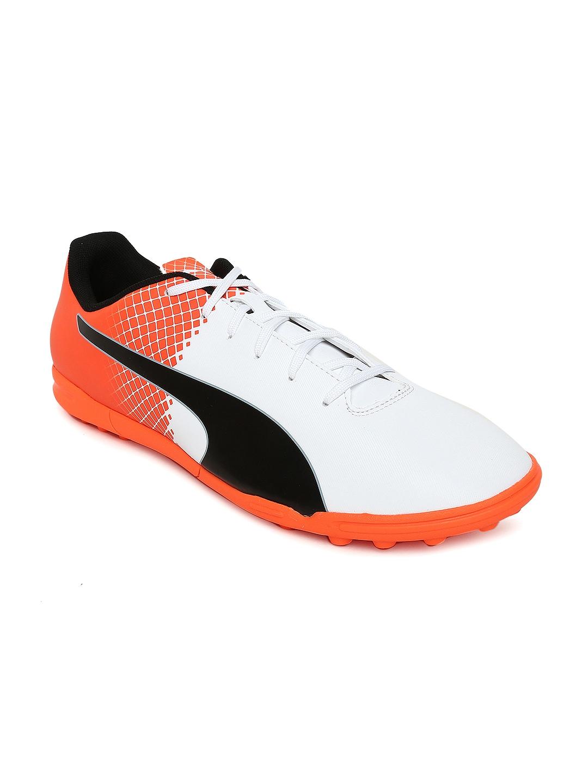 Puma Men White   Orange Printed evoSPEED 5.5 TT Football Shoes