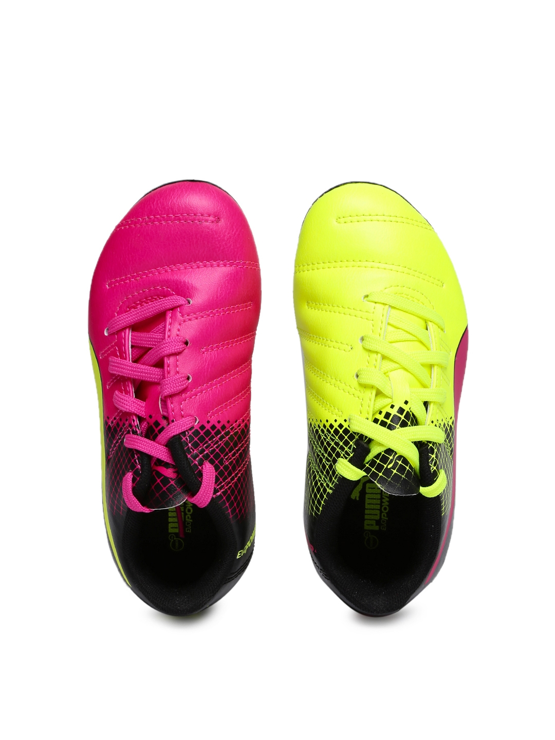 Puma Unisex Pink   Fluorescent Green evoPOWER 4.3 FG Jr Football Shoes