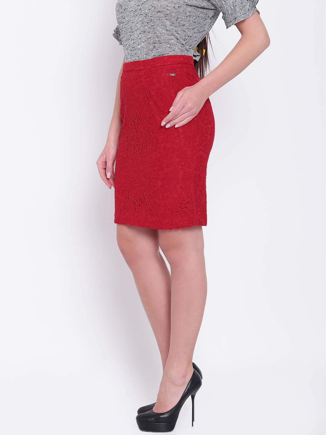 856f044f9 Buy Park Avenue Woman Red Lace Pencil Skirt - Skirts for Women ...