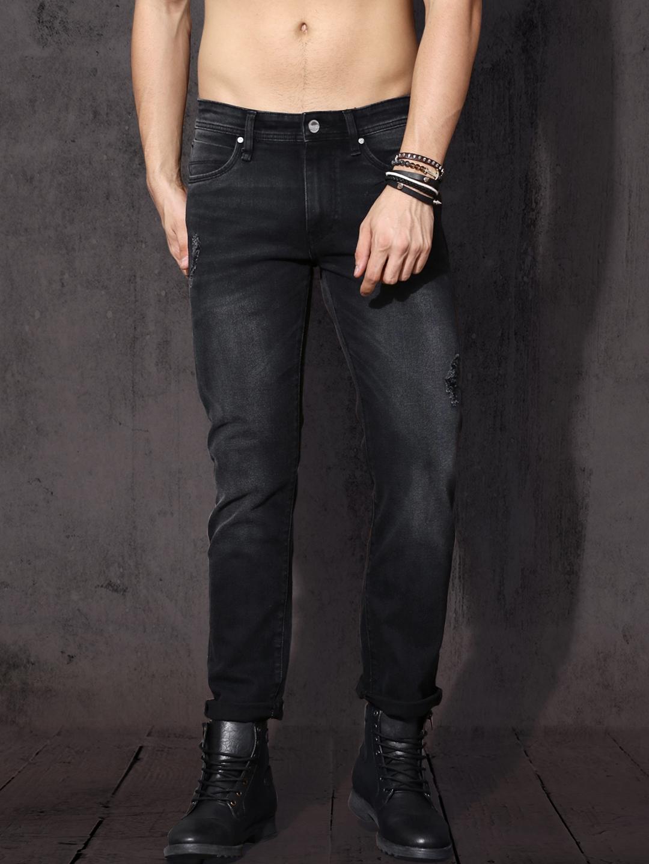 c6816515662 Roadster Men Black Slim Fit Mid-Rise Mildly Distressed Stretchable Jeans