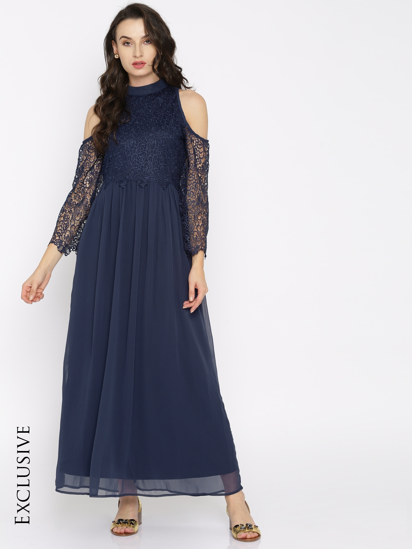 4b31073220 Buy RARE Women Navy Blue Self Design Maxi Dress - Dresses for Women ...