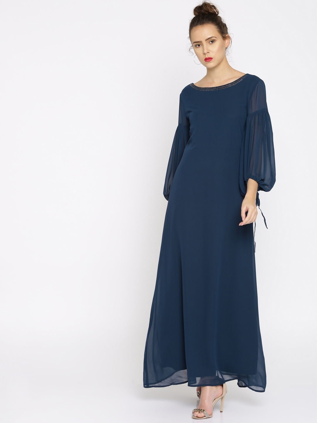 d7fd2a37f8a Buy RARE Women Navy Solid Maxi Dress With Embellished Neck - Dresses ...