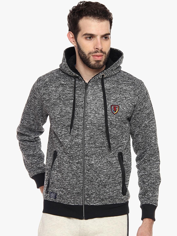 Duke Men Grey Solid Hooded Sweatshirt