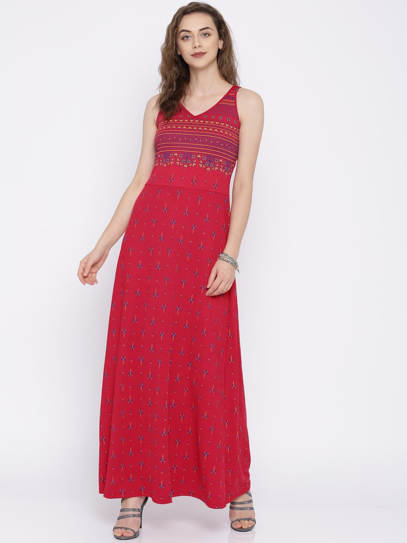 8e4520907f56 Buy Global Desi Women Maroon Printed Maxi Dress - Dresses for Women ...