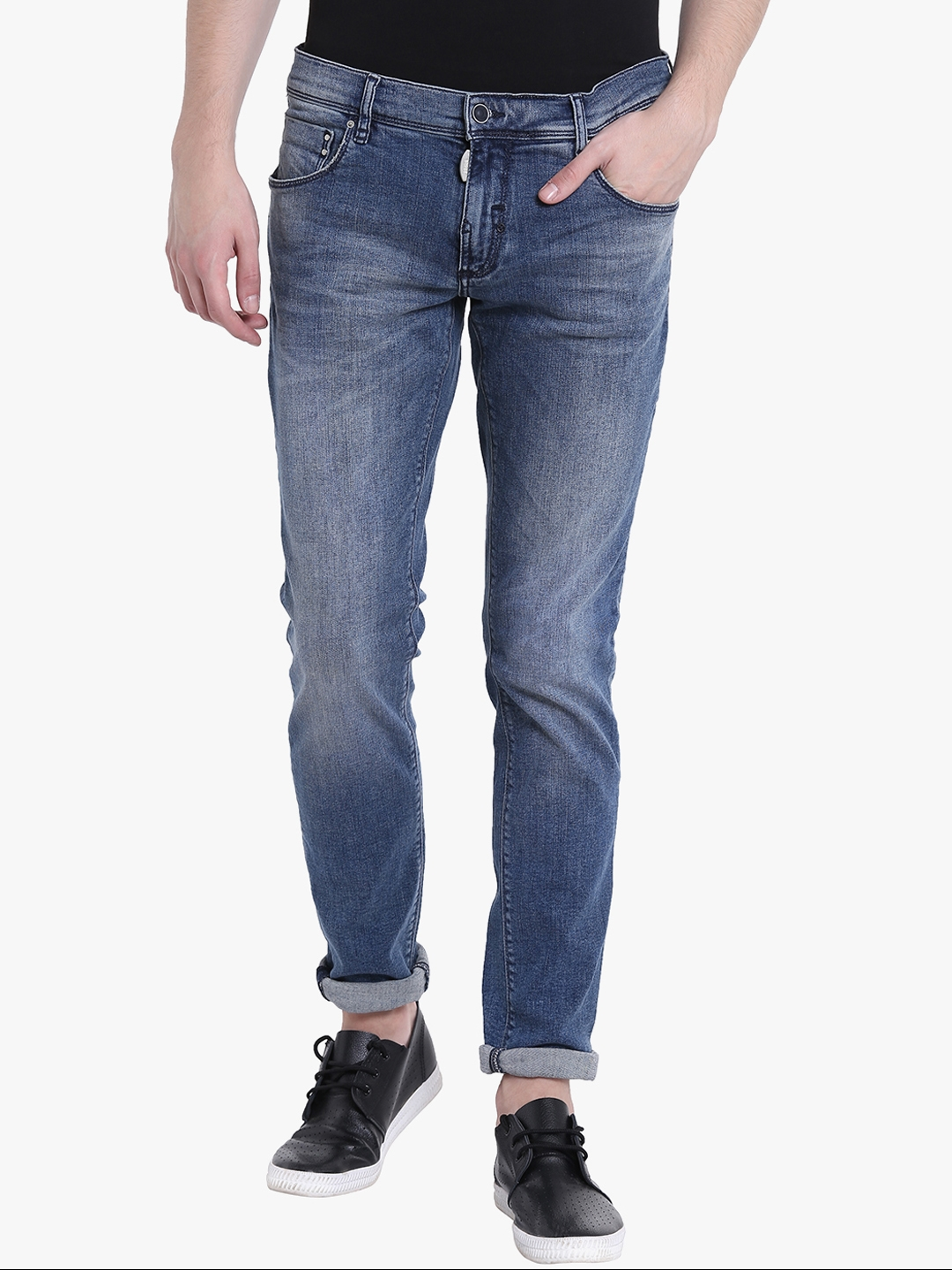 63d68a2f875 Buy Antony Morato Men Blue Slim Fit Mid Rise Low Distress Jeans ...