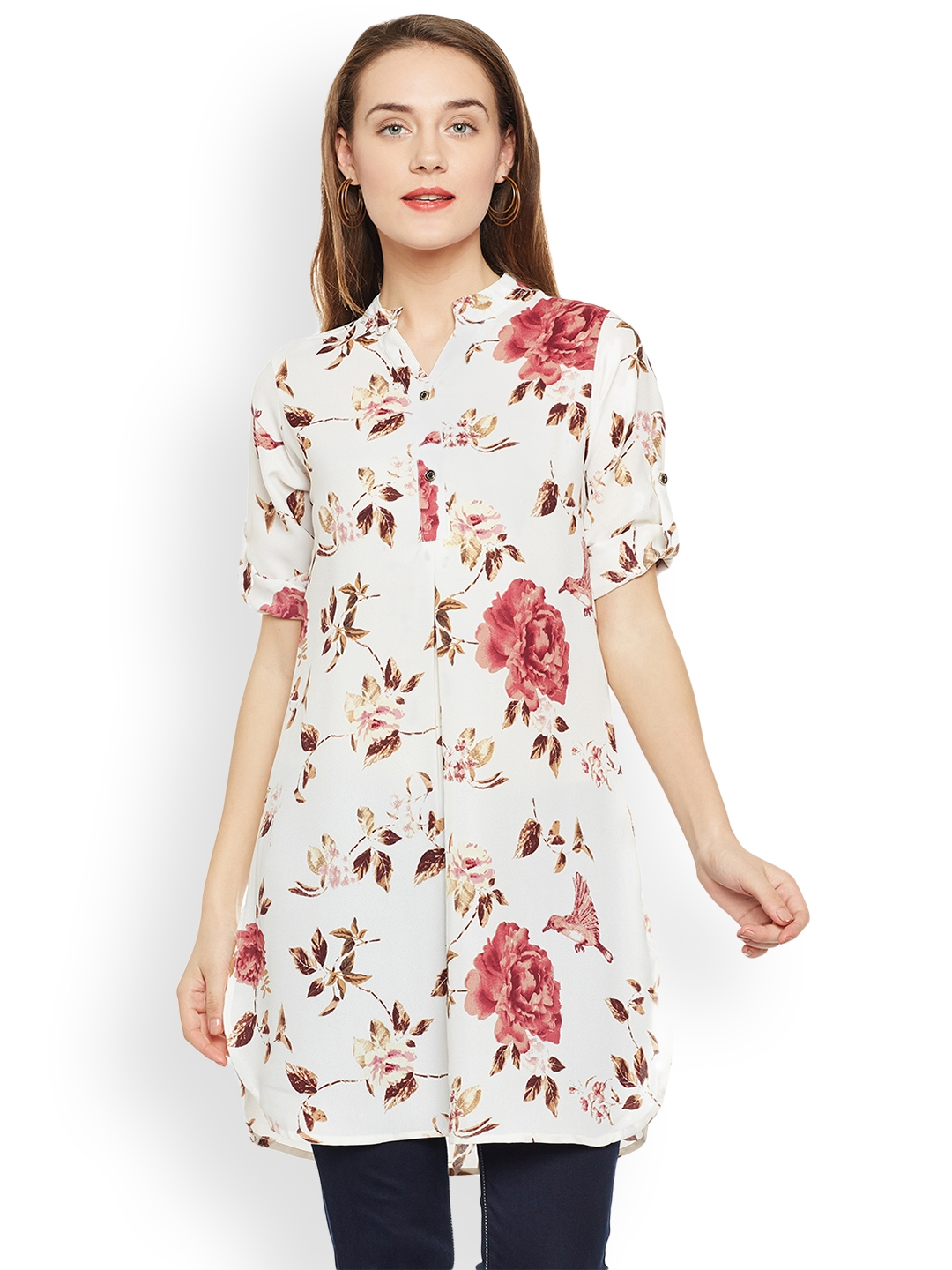 7a0c8246777 Buy Ruhaans Off White Printed Tunic - Tunics for Women 2274140   Myntra