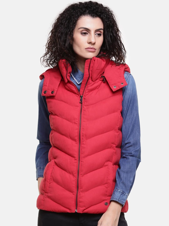 Buy U S Polo Assn Women Women Red Solid Padded Jacket Jackets