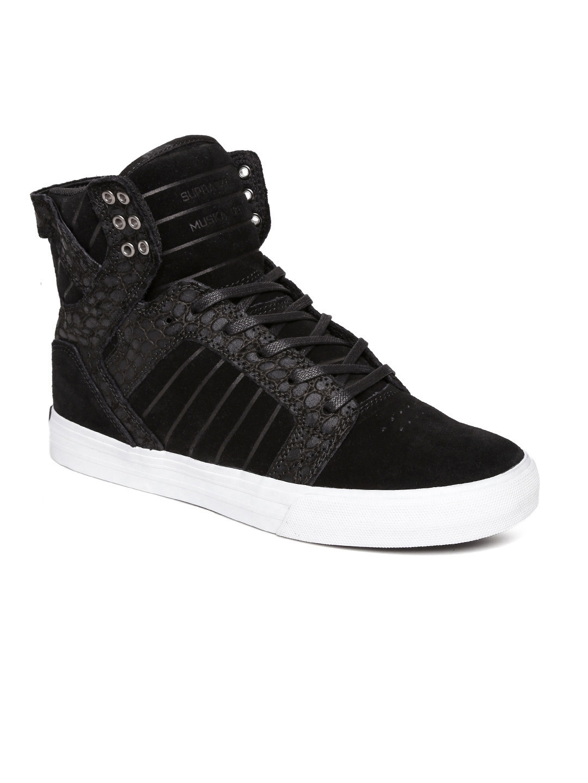 f85c4de7626 Buy Supra Men Black Solid Leather High Top Sneakers - Casual Shoes ...