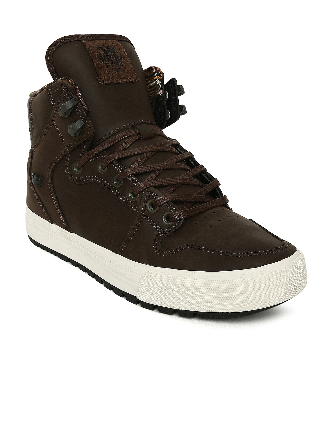 f50bab608e Buy Supra Men Brown Solid Leather Vaider CW High Top Sneakers ...
