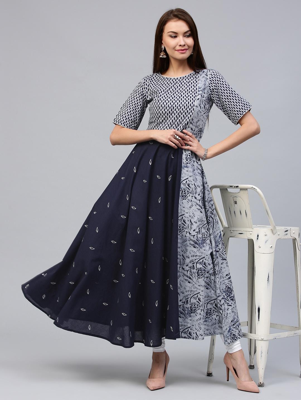 c21517037e Buy Jaipur Kurti Women Blue Printed Anarkali Kurta - Kurtas for ...