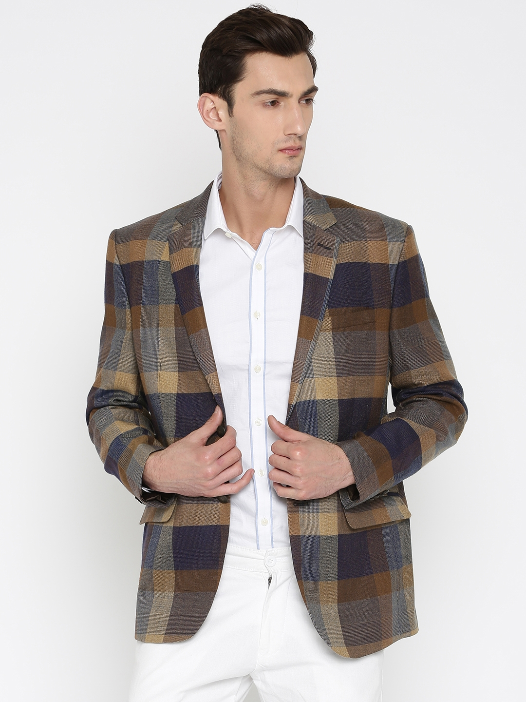 db57a5542f Park Avenue Brown   Beige Slim Fit Checked Single-Breasted Formal Blazer